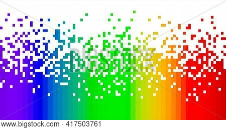 Spectrum Rainbow Colors Fading Pixel Square Modern Abstract Background Pattern Vertical Isolated On