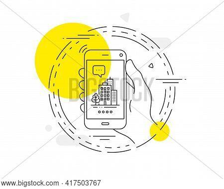 Buildings Line Icon. Mobile Phone Vector Button. City Architecture With Tree Sign. Skyscraper Buildi