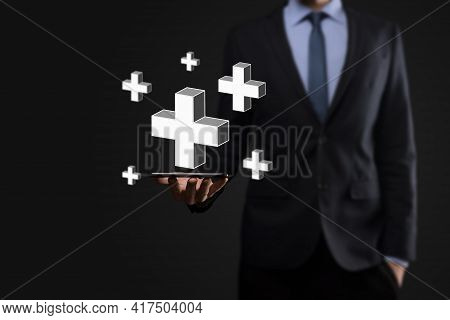 Businessman Hold 3D Plus Icon, Man Hold In Hand Offer Positive Thing Such As Profit, Benefits, Devel