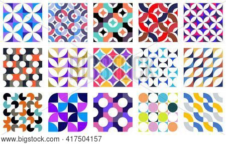 Geometric Abstract Seamless Patterns Set With Colorful Simple Elements Of Geometry, Wallpaper Backgr