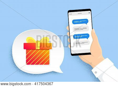 Gift Box Banner. Hand Holding Phone With Chat Messages. Discount Sale Sticker. Coupon Present Icon.