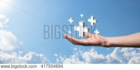 Hand Hold 3D Plus Icon, Man Hold In Hand Offer Positive Thing Such As Profit, Benefits, Development,