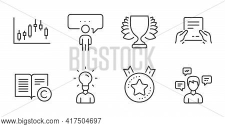 Education, Winner And Candlestick Graph Line Icons Set. Copyright, Receive File And Conversation Mes