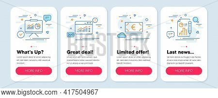 Set Of Finance Icons, Such As Web Traffic, Presentation, Euro Currency Symbols. Mobile Screen Banner