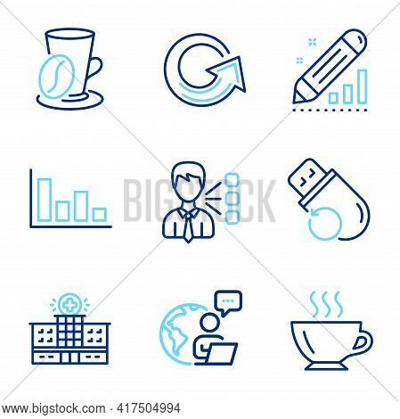 Business Icons Set. Included Icon As Reload, Histogram, Hospital Building Signs. Third Party, Flash