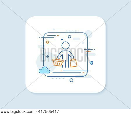 Buyer With Shopping Cart Line Icon. Abstract Square Vector Button. Customer With Bags Sign. Supermar