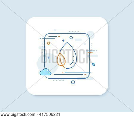 Mint Leaf With Water Drop Line Icon. Abstract Square Vector Button. Nature Plant Dew Sign. Environme