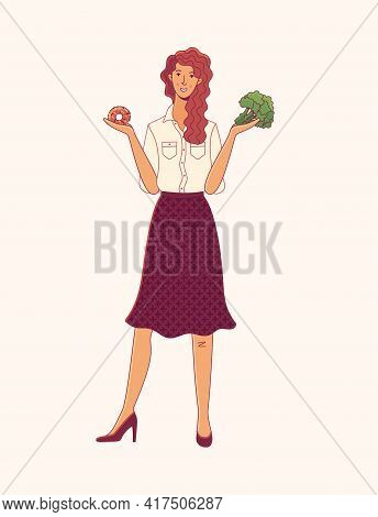 Young Woman Choosing Between Donut And Broccoli Cartoon Illustration
