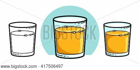 Orange Juice In A Glass Isolated On White Background Vector Illustration 3 Versions Set, Cartoon Sty