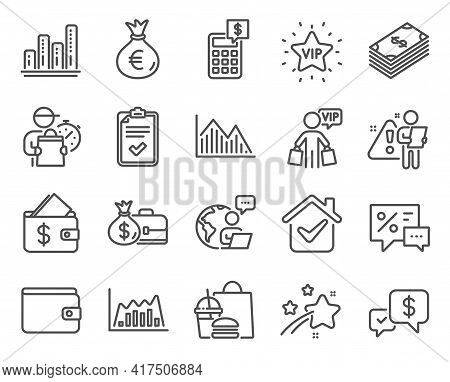 Finance Icons Set. Included Icon As Calculator, Graph Chart, Vip Star Signs. Infographic Graph, Paym