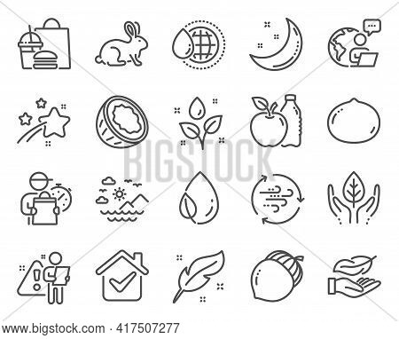Nature Icons Set. Included Icon As Lightweight, Wind Energy, Moon Stars Signs. Macadamia Nut, Feathe