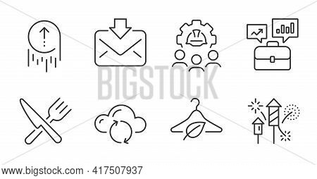 Swipe Up, Business Portfolio And Fireworks Rocket Line Icons Set. Food, Engineering Team And Incomin