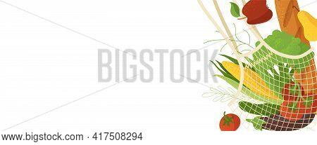 Veggies In Mesh Shopping Bag Flat Vector Illustration