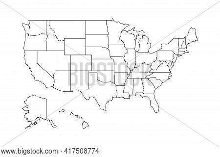 Usa Vector Map Contour With Federal States Borders. United States Of America Country Outline Silhoue