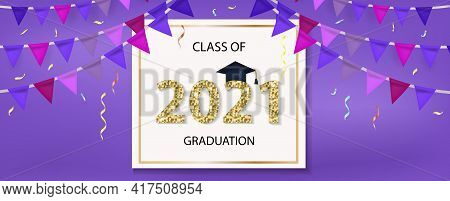 Class Of 2021 Graduation Congratulation Template For Your Design With Graduation Hat And Shiny Numbe
