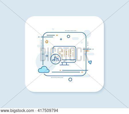 Report Statistics Line Icon. Abstract Square Vector Button. Column Graph Sign. Growth Diagram Symbol