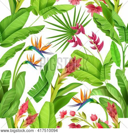 Jungle Tropical Seamless Pattern, Floral Exotic Vector Background, Green Banana Leaves, Exotic Flowe