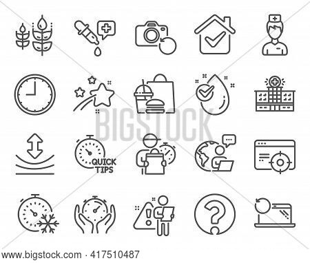 Science Icons Set. Included Icon As Water Drop, Doctor, Freezing Timer Signs. Time, Timer, Question