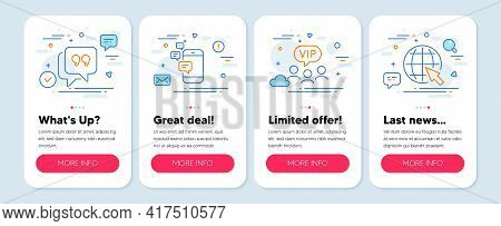 Set Of Line Icons, Such As Vip Clients, Communication, Quote Bubble Symbols. Mobile Screen Mockup Ba