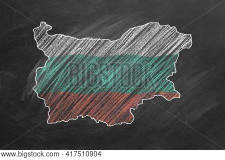 Country Map And Flag Of Bulgaria Drawing With Chalk On A Blackboard. One Of A Large Series Of Maps A