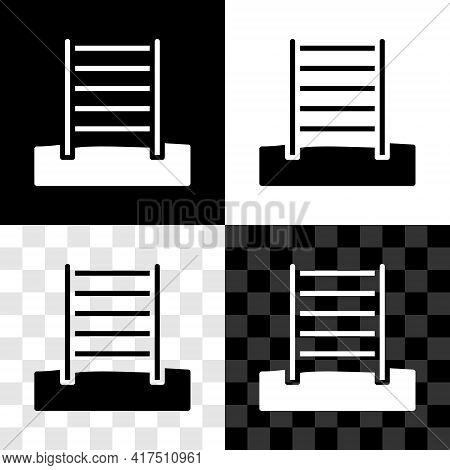 Set Wooden Swedish Wall Icon Isolated On Black And White, Transparent Background. Swedish Stairs. Ve