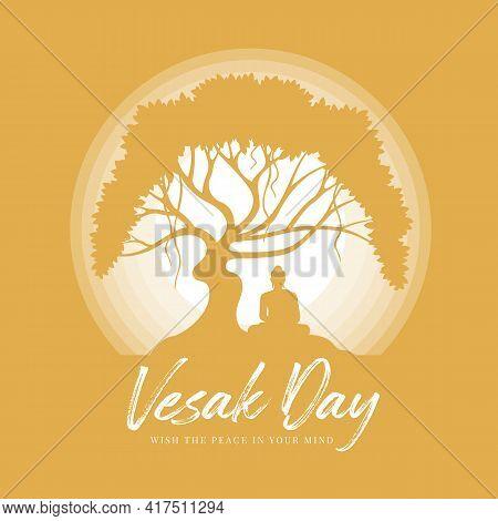 Vesak Day With Silhouette The Buddha Meditation Under Bodhi Tree In Circle Light Full Moon Night On