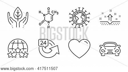 Chemical Formula, Heart And Rating Stars Line Icons Set. Car, 24 Hours And Coronavirus Signs. Clean