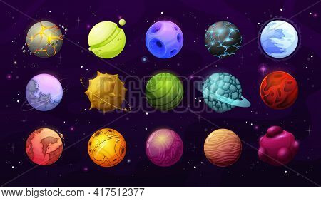 Alien Planets And Stars, Vector Fantasy Space Galaxy. Cartoon Elements Of User Interface Or Gui, Ali