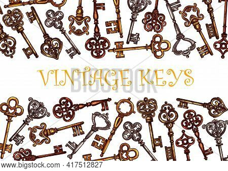 Keys Of Vintage Antique And Golden Old Locks, Vector Banner. Retro Keys With Ornate Heads And Classi