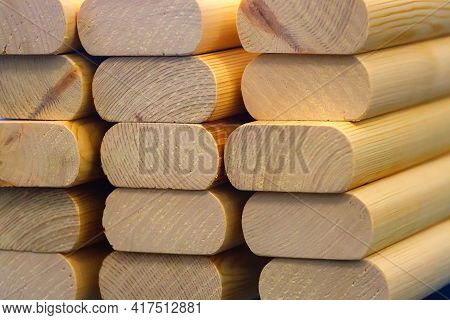 The Planed Wooden Blanks Are Stacked In A Stack. Supply And Manufacture Of Building Materials Made O