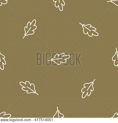 Seamless Background Single Forest Oak Leaf Gender Neutral Baby Pattern. Simple Whimsical Minimal Ear