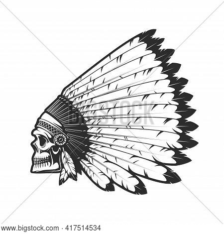 Indian Chief Skull In Indigenous Headdress Of Eagle Feathers, Dead Head Vector Tattoo. Western And N