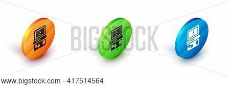Isometric Portable Tetris Electronic Game Icon Isolated On White Background. Vintage Style Pocket Br