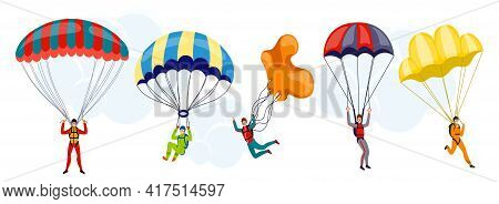 Set Of Cartoon Colorful Free Fall People Vector Flat Illustration. Extreme Sport. Young Wingsuit Jum