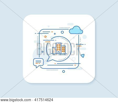 Buildings Line Icon. Abstract Square Vector Button. City Apartments Sign. Architecture Building Symb