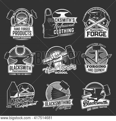 Blacksmithing And Forging Tools, Equipment And Clothing Shop Vector Icons. Blacksmith Workshop, Iron
