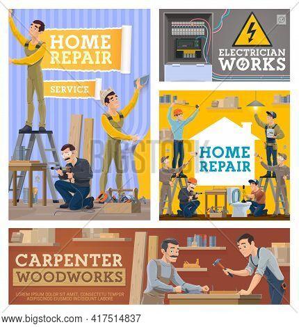 Home Repair And Renovation, Construction Vector Workers. Wallpapering Worker, Handyman Repairing Tab