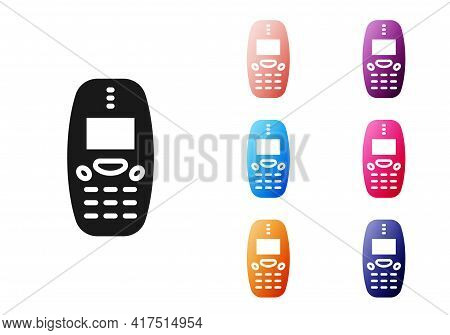 Black Old Vintage Keypad Mobile Phone Icon Isolated On White Background. Retro Cellphone Device. Vin