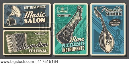 Music Instruments Posters Retro, Concert Festival And Orchestra, Classic And Folk Music Sound, Vecto