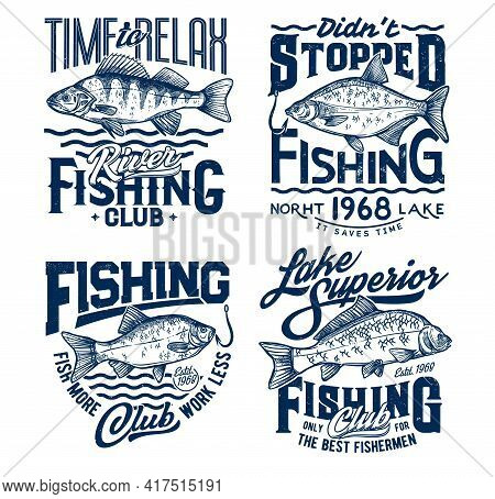 Fishing T-shirt Prints With Fish, Ocean Fisher Club Tee. Lake Angling And Fisherman Sport For Big Fi