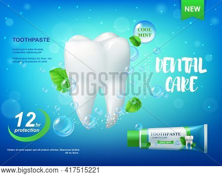 Cool Mint Toothpaste And Tooth Realistic Vector Poster. 3d Healthy Tooth With Dental Care, Antibacte