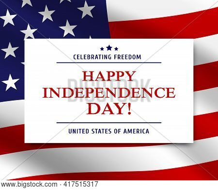 Usa Independence Day American Flag Vector Background. Happy 4th Of July Holiday Greeting Card , Unit