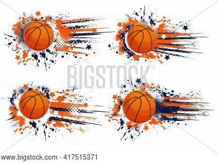 Orange Basketball Vector Sport Grunge Banners. Game Competition, Team Club And Championship. Rubber
