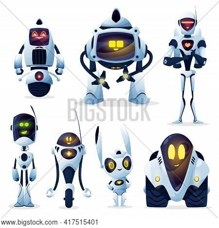 Robots And Android Bots, Cartoon Toy Characters, Vector Ai Cyborgs. Robot Cyborg Machines With Digit