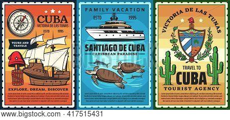 Travel To Cuba, Caribbean Resort Retro Posters. Christopher Columbus Caravel, Phrygian Cap And Yacht