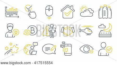 Set Of Business Icons, Such As Diagram Chart, Checkbox, Communication Symbols. Refresh Bitcoin, Mess