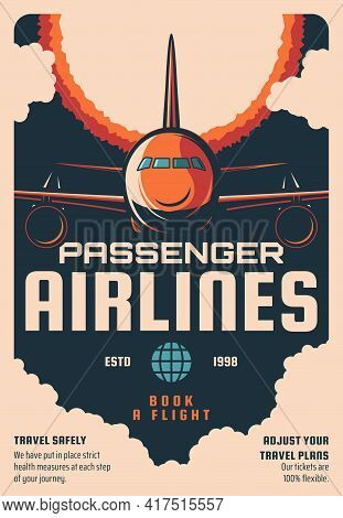 Passenger Airlines Flights Booking Service Retro Poster. Modern Airliner, Jet Airplane Flying In Sky