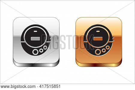 Black Music Cd Player Icon Isolated On White Background. Portable Music Device. Silver And Gold Squa