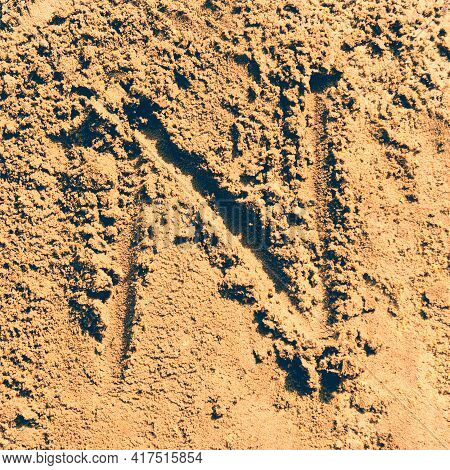 Alphabet Letter ''n'' Made From A Sand