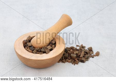 Guaiacum bark used in natural herbal medicine in a mortar with pestle. Used to heal rheumatism, arthritis, syphilis, breathing problems, skin disorders and is anti bacterial. Guaiacum officinale.